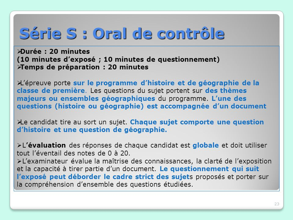 Série S : Oral de contrôle