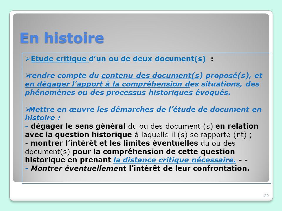 En histoire Etude critique d'un ou de deux document(s) :