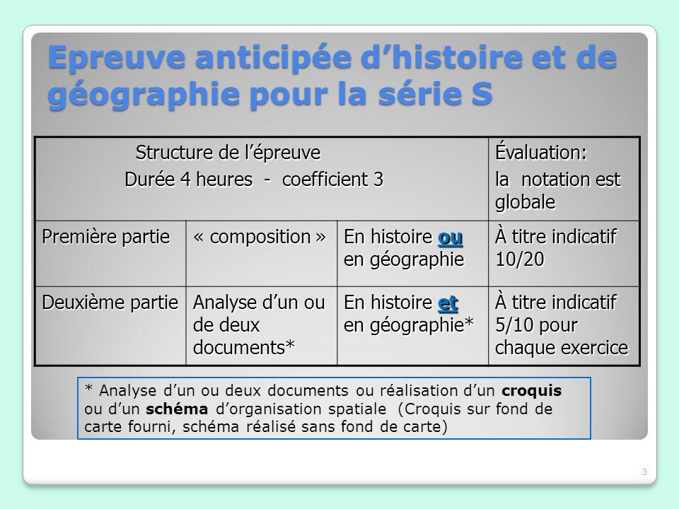 Epreuve anticipée d'histoire et de géographie pour la série S