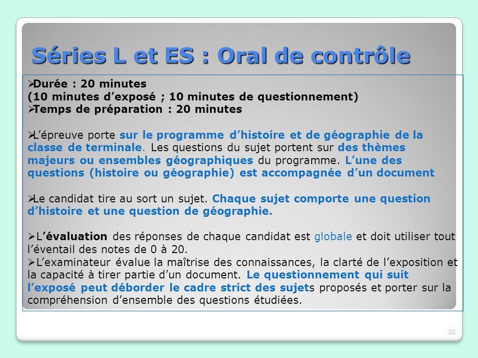 Séries L et ES : Oral de contrôle