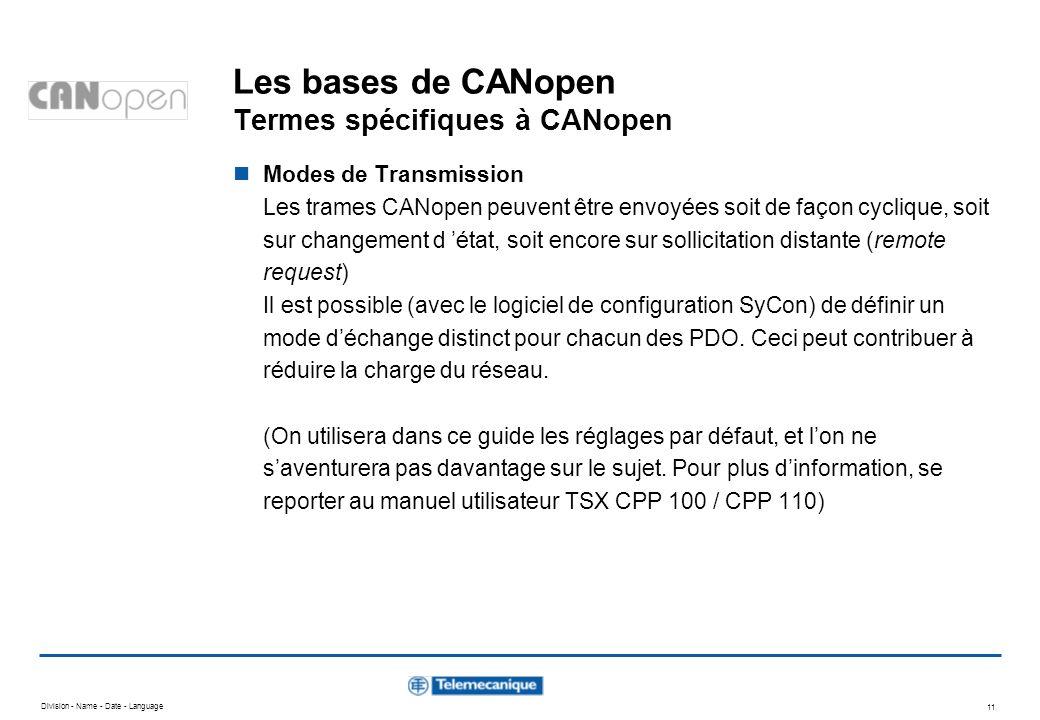 Les bases de CANopen Termes spécifiques à CANopen