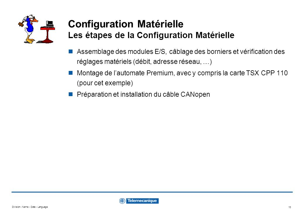 Configuration Matérielle Les étapes de la Configuration Matérielle