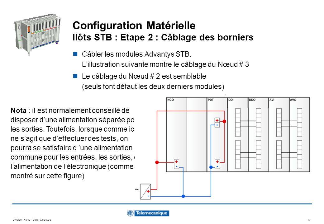 Configuration Matérielle Ilôts STB : Etape 2 : Câblage des borniers