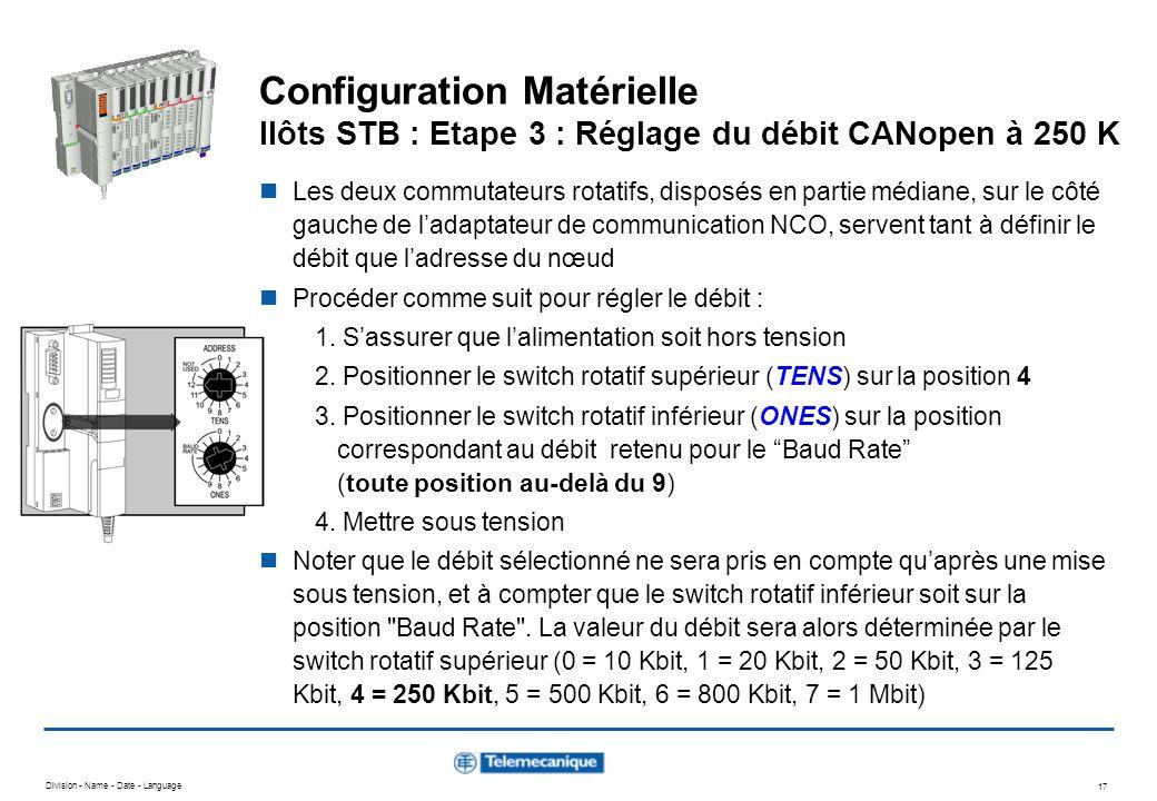 Configuration Matérielle Ilôts STB : Etape 3 : Réglage du débit CANopen à 250 K