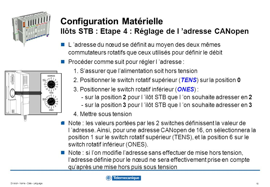 Configuration Matérielle Ilôts STB : Etape 4 : Réglage de l 'adresse CANopen