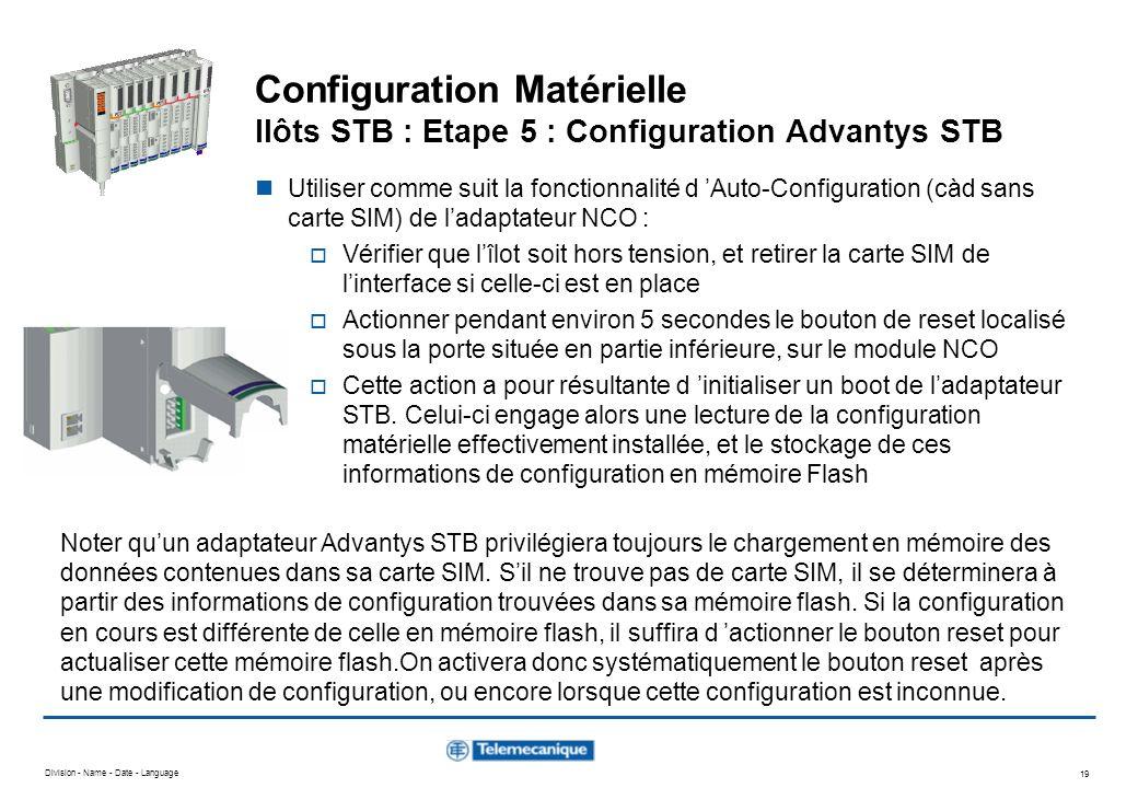 Configuration Matérielle Ilôts STB : Etape 5 : Configuration Advantys STB