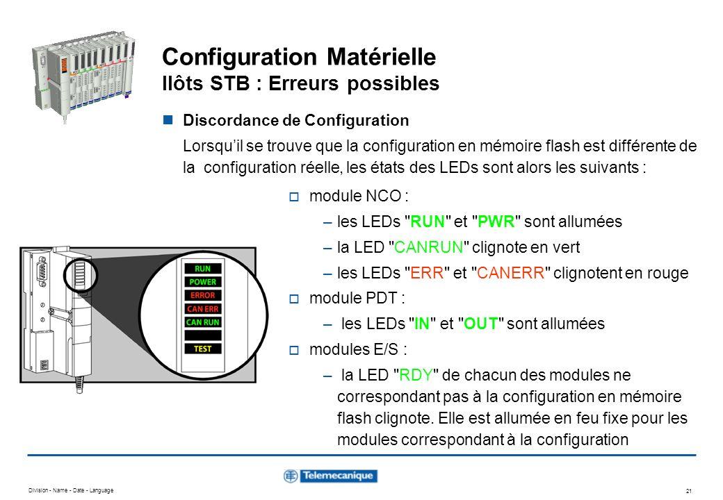 Configuration Matérielle Ilôts STB : Erreurs possibles