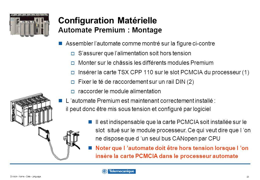 Configuration Matérielle Automate Premium : Montage