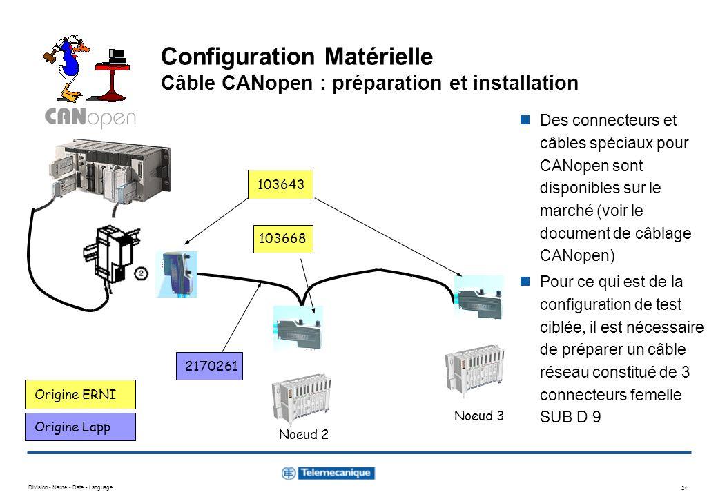 Configuration Matérielle Câble CANopen : préparation et installation