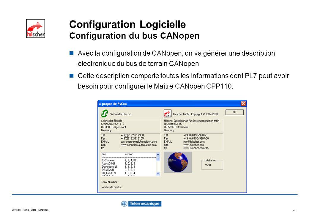 Configuration Logicielle Configuration du bus CANopen