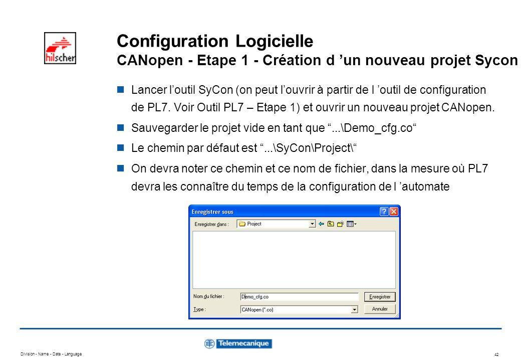 Configuration Logicielle CANopen - Etape 1 - Création d 'un nouveau projet Sycon