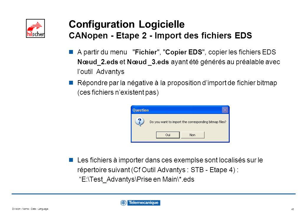 Configuration Logicielle CANopen - Etape 2 - Import des fichiers EDS