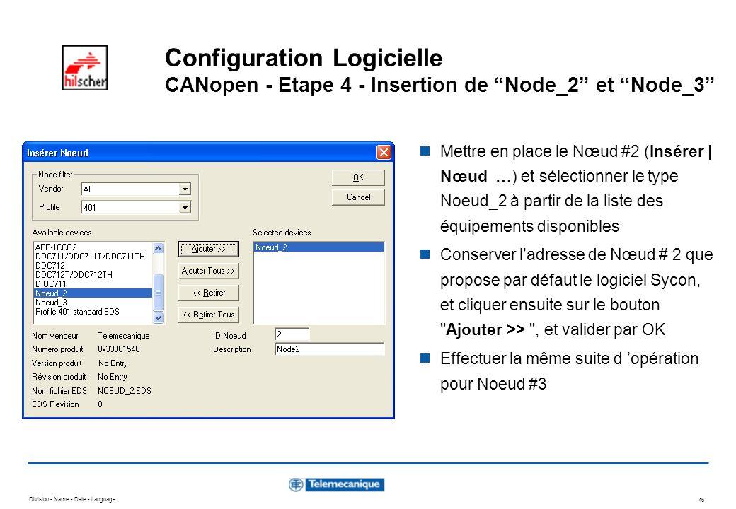 Configuration Logicielle CANopen - Etape 4 - Insertion de Node_2 et Node_3