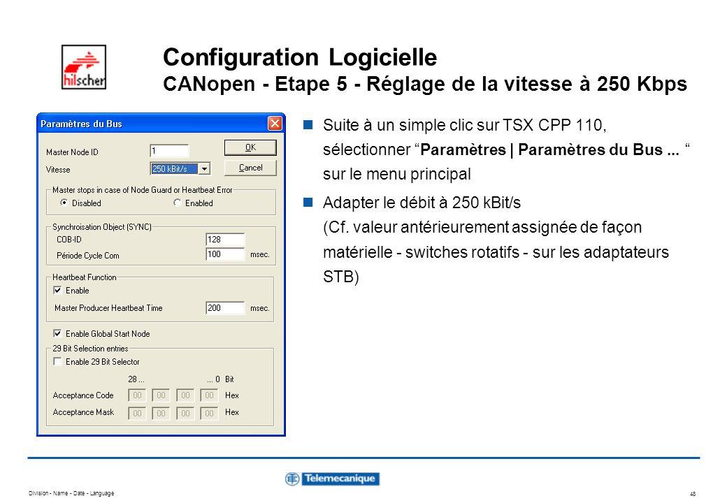 Configuration Logicielle CANopen - Etape 5 - Réglage de la vitesse à 250 Kbps