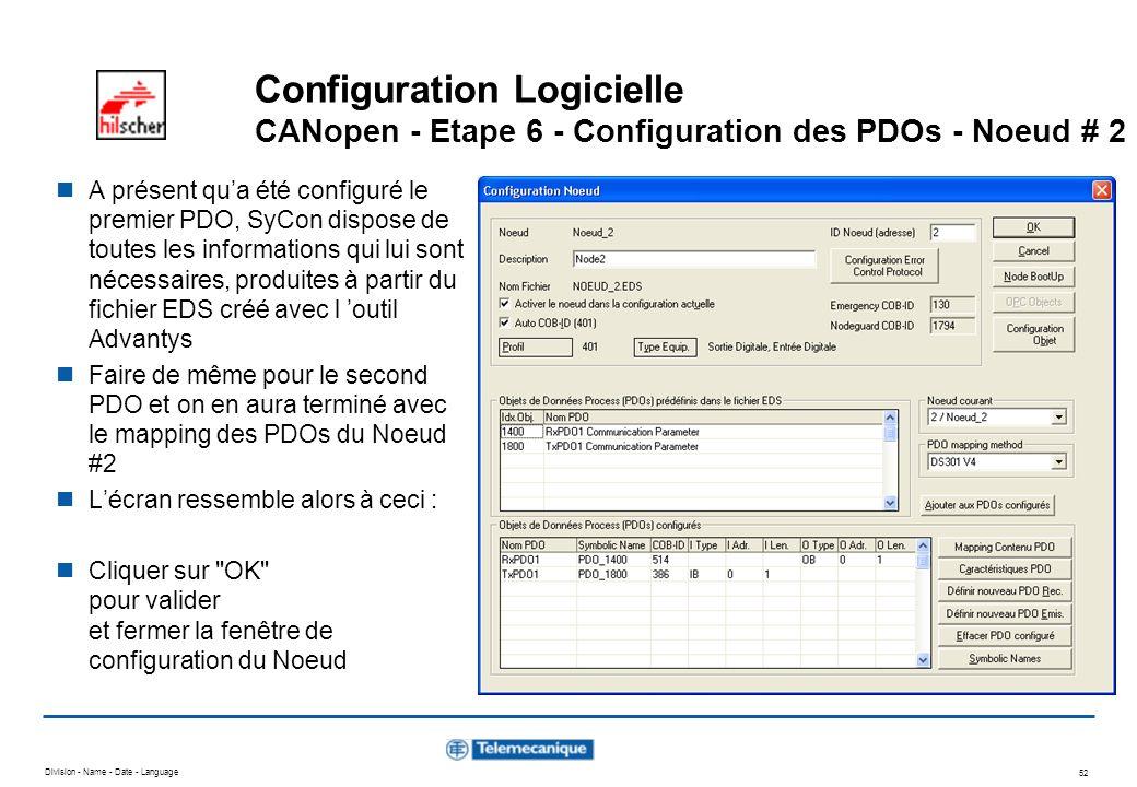 Configuration Logicielle CANopen - Etape 6 - Configuration des PDOs - Noeud # 2