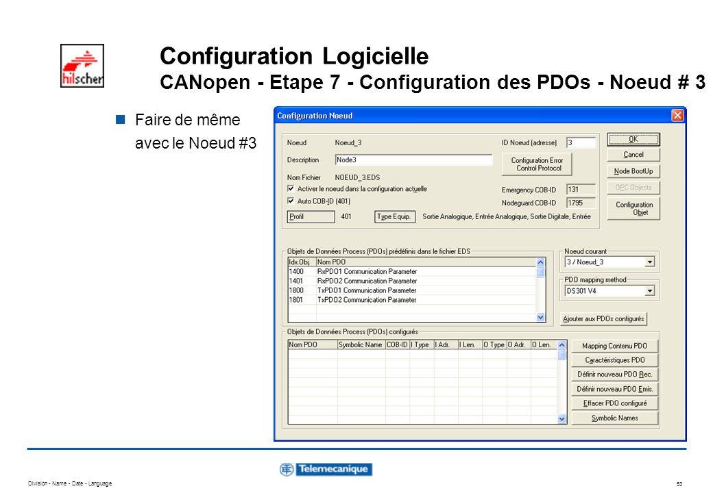 Configuration Logicielle CANopen - Etape 7 - Configuration des PDOs - Noeud # 3