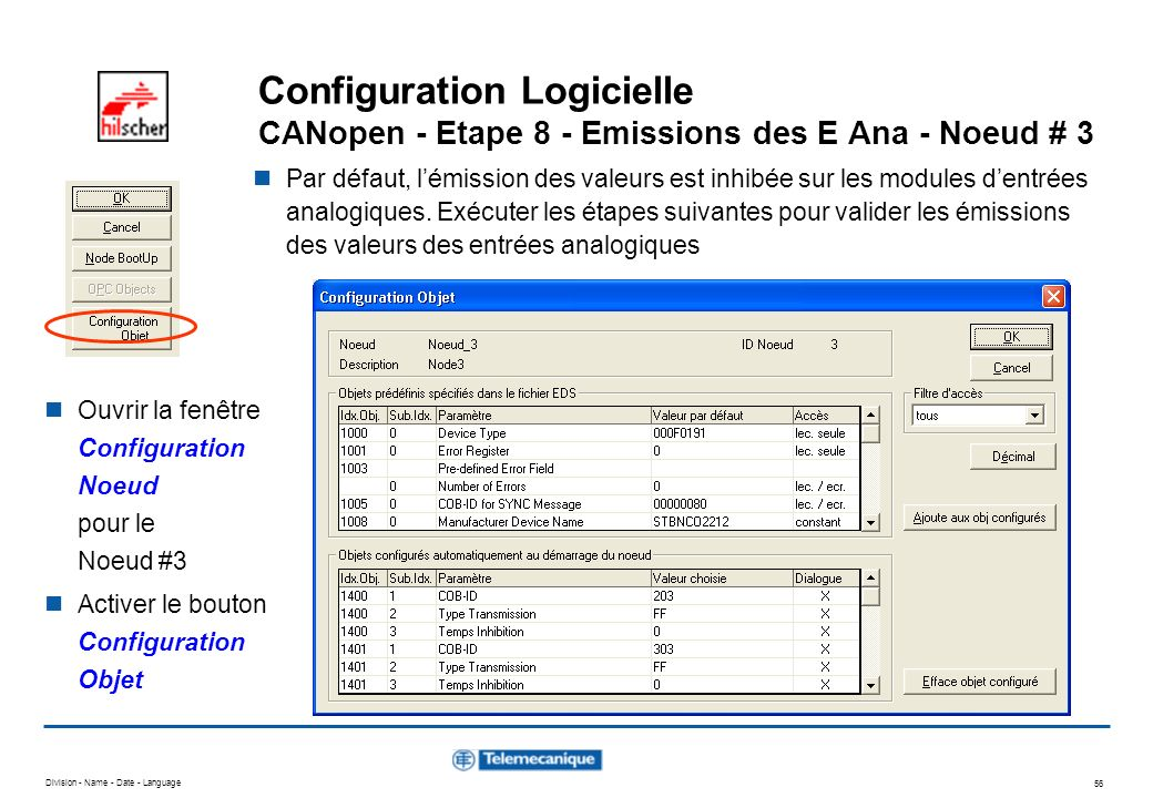 Configuration Logicielle CANopen - Etape 8 - Emissions des E Ana - Noeud # 3
