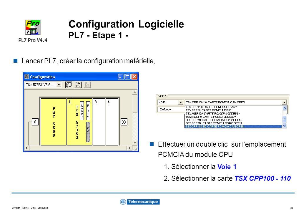 Configuration Logicielle PL7 - Etape 1 -