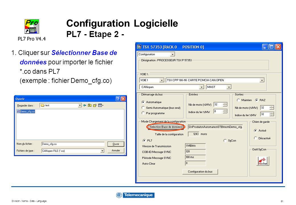 Configuration Logicielle PL7 - Etape 2 -