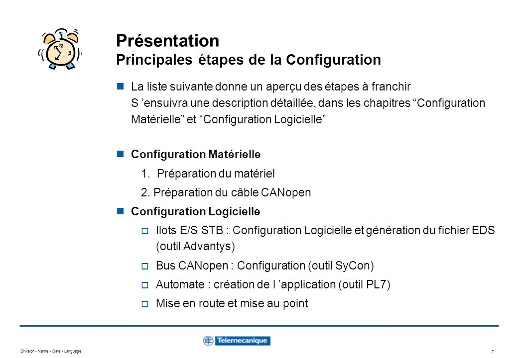 Présentation Principales étapes de la Configuration