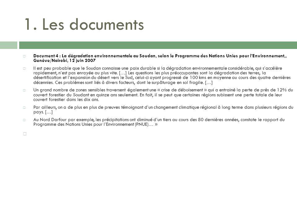 1. Les documents