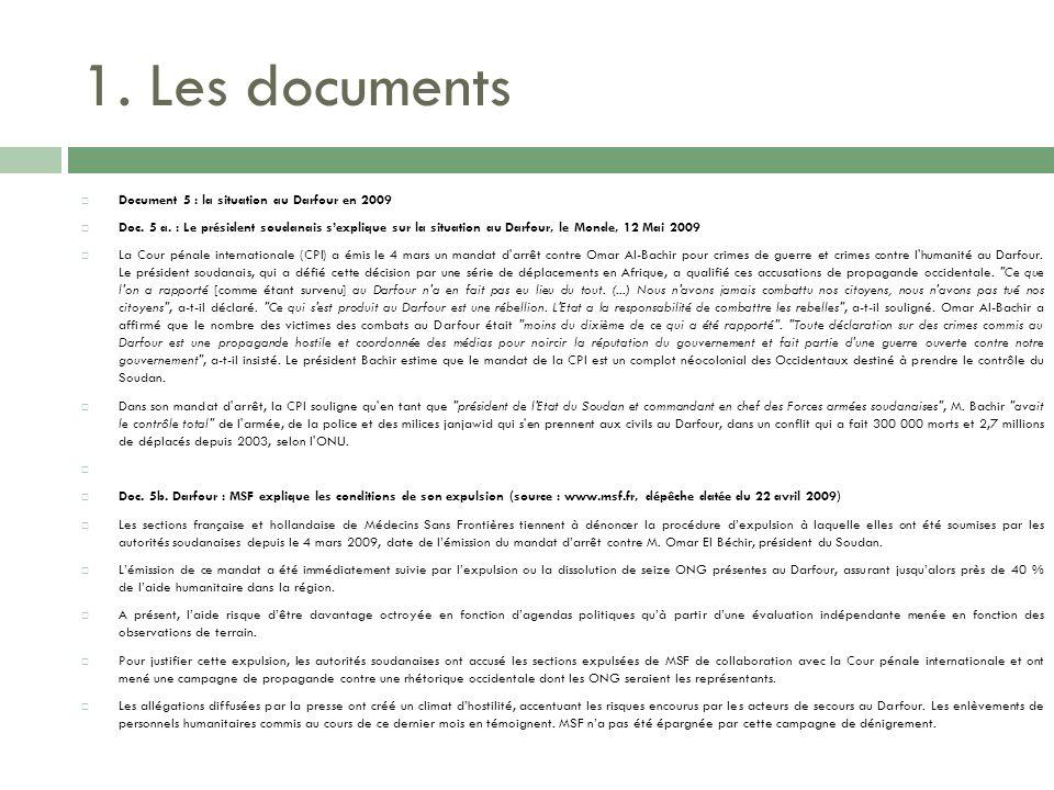 1. Les documents Document 5 : la situation au Darfour en 2009