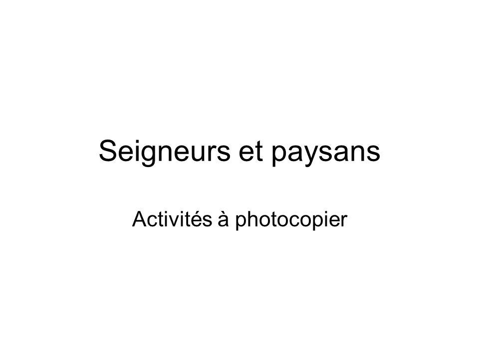 Activités à photocopier