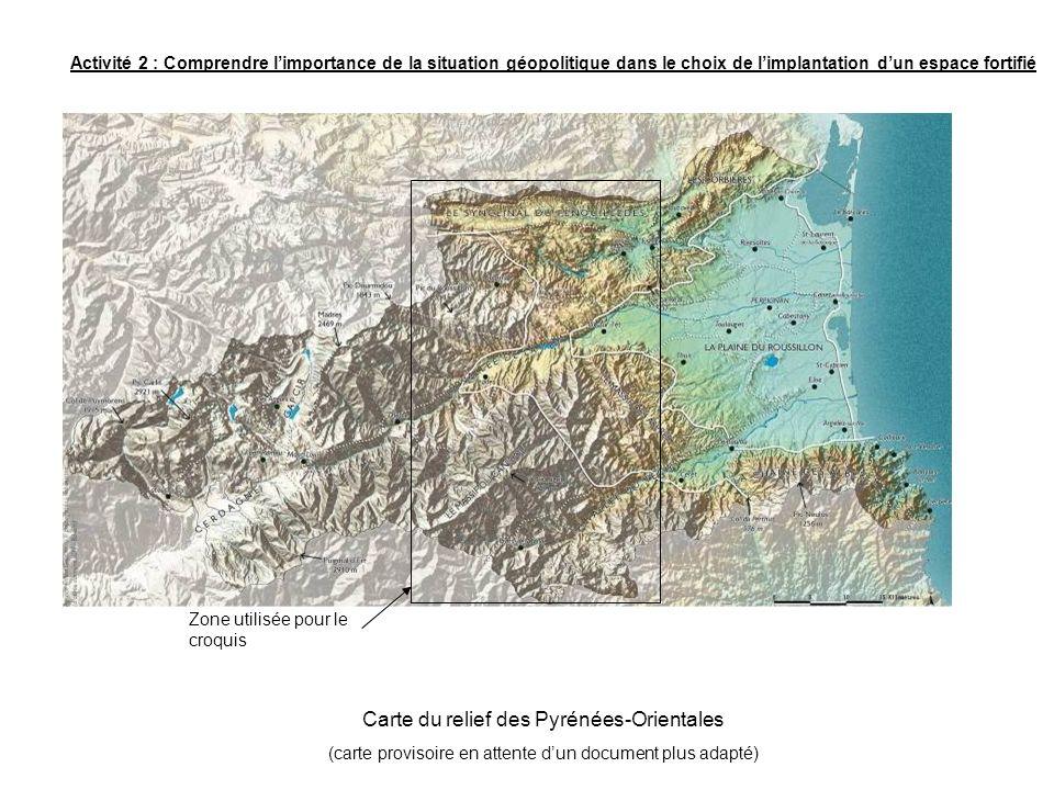 Carte du relief des Pyrénées-Orientales