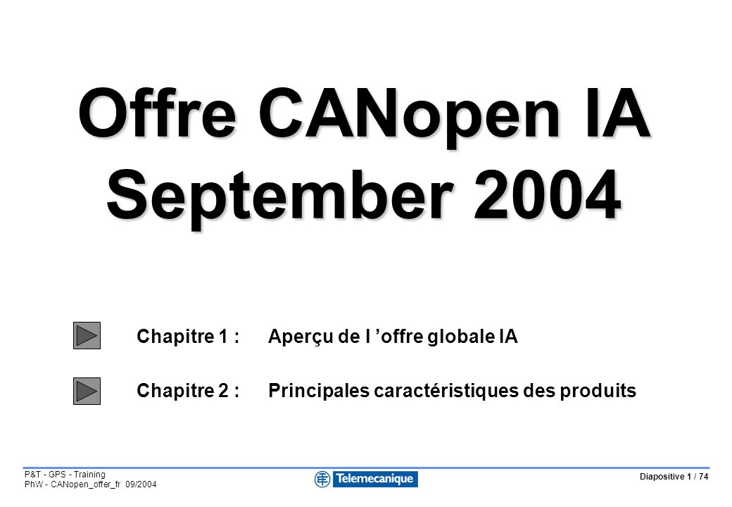 Offre CANopen IA September 2004