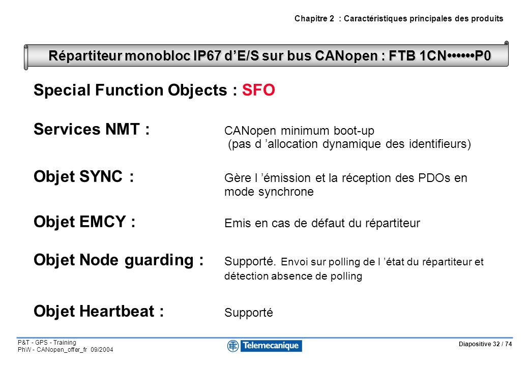 Répartiteur monobloc IP67 d'E/S sur bus CANopen : FTB 1CN••••••P0