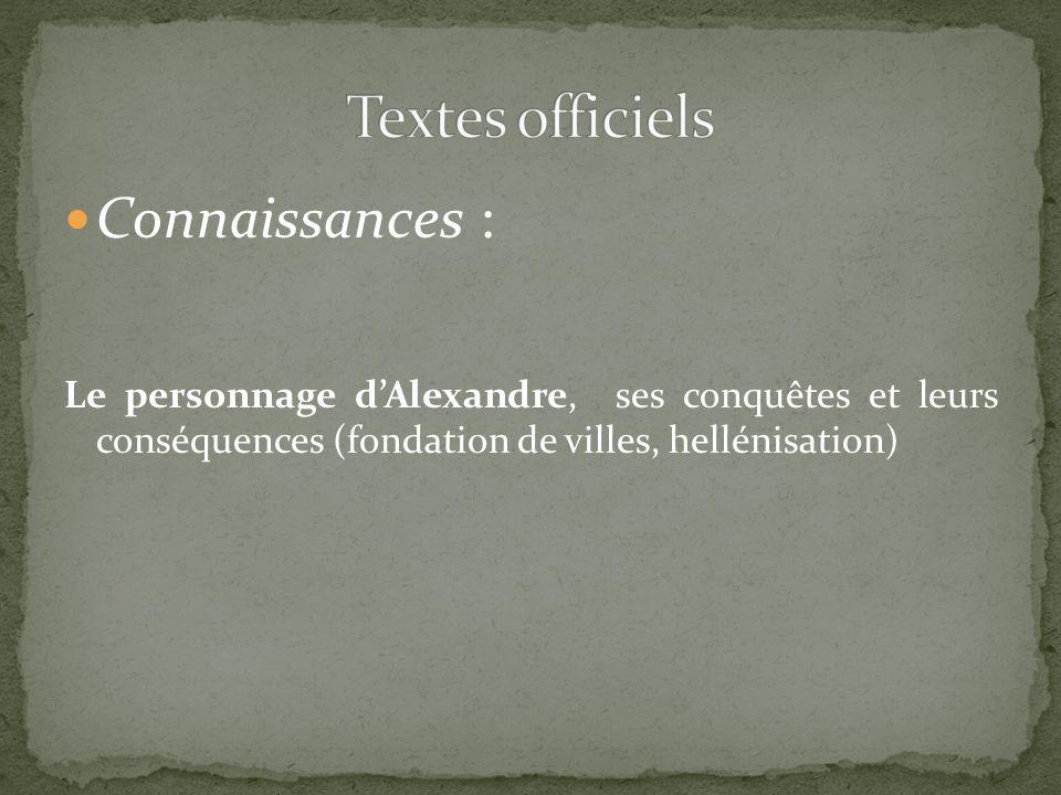 Textes officiels Connaissances :