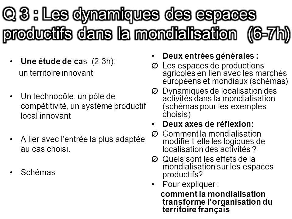 Q 3 : Les dynamiques des espaces productifs dans la mondialisation (6-7h)