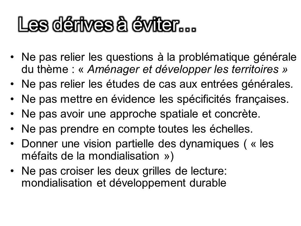Les dérives à éviter… Ne pas relier les questions à la problématique générale du thème : « Aménager et développer les territoires »