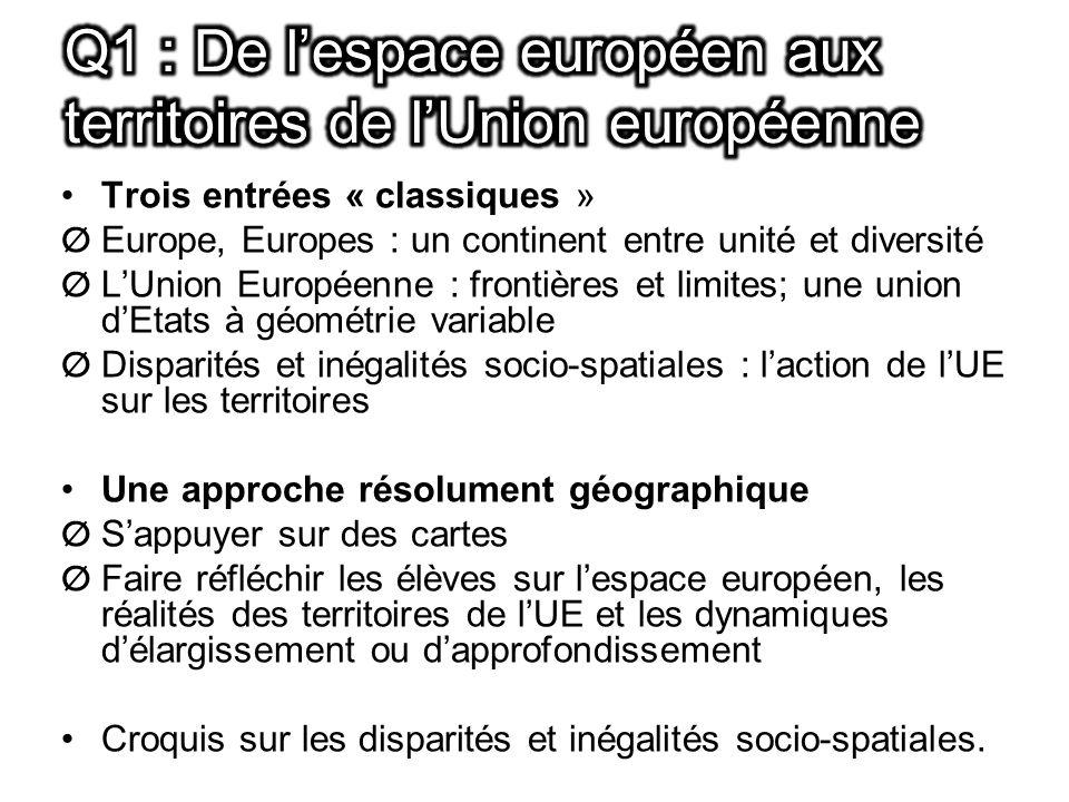 Q1 : De l'espace européen aux territoires de l'Union européenne