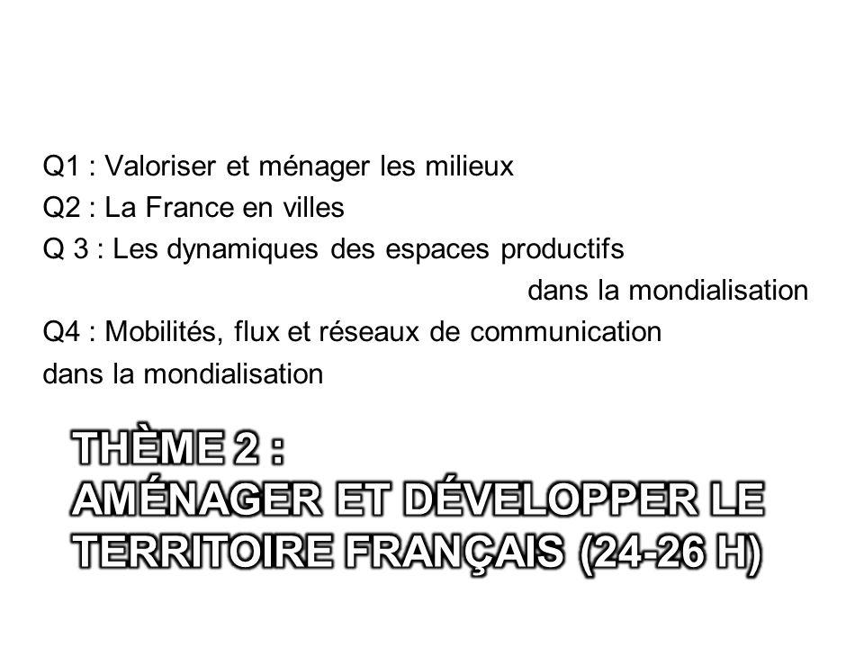 Thème 2 : aménager et développer le territoire français (24-26 h)