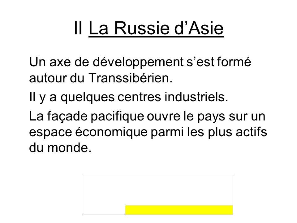 II La Russie d'AsieUn axe de développement s'est formé autour du Transsibérien. Il y a quelques centres industriels.