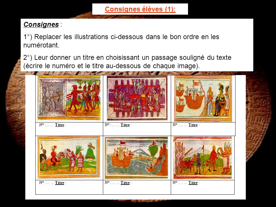 Consignes élèves (1): Consignes : 1°) Replacer les illustrations ci-dessous dans le bon ordre en les numérotant.
