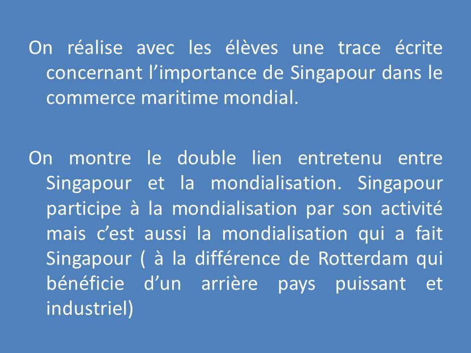 On réalise avec les élèves une trace écrite concernant l'importance de Singapour dans le commerce maritime mondial.