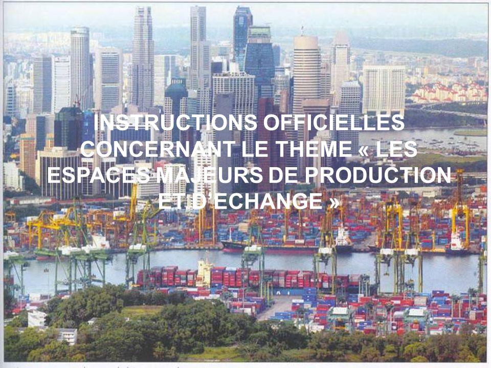 INSTRUCTIONS OFFICIELLES CONCERNANT LE THEME « LES ESPACES MAJEURS DE PRODUCTION ET D'ECHANGE »