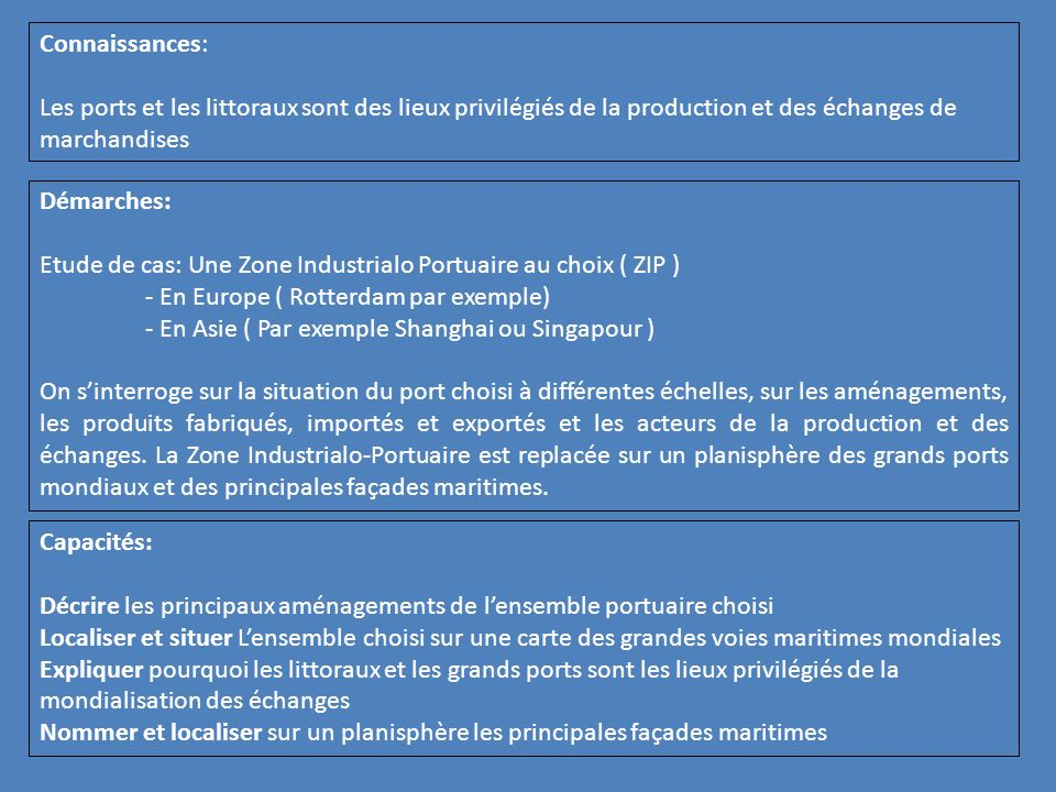 Connaissances: Les ports et les littoraux sont des lieux privilégiés de la production et des échanges de marchandises.