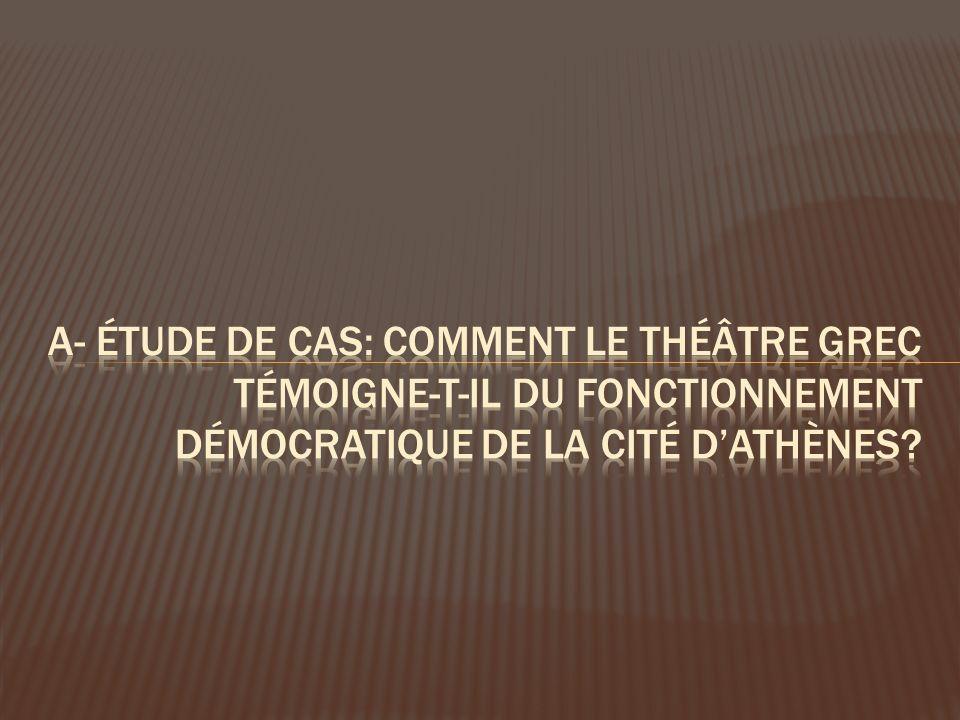 A- étude de cas: comment le théâtre grec Témoigne-t-il du fonctionnement démocratique de la cité d'athènes