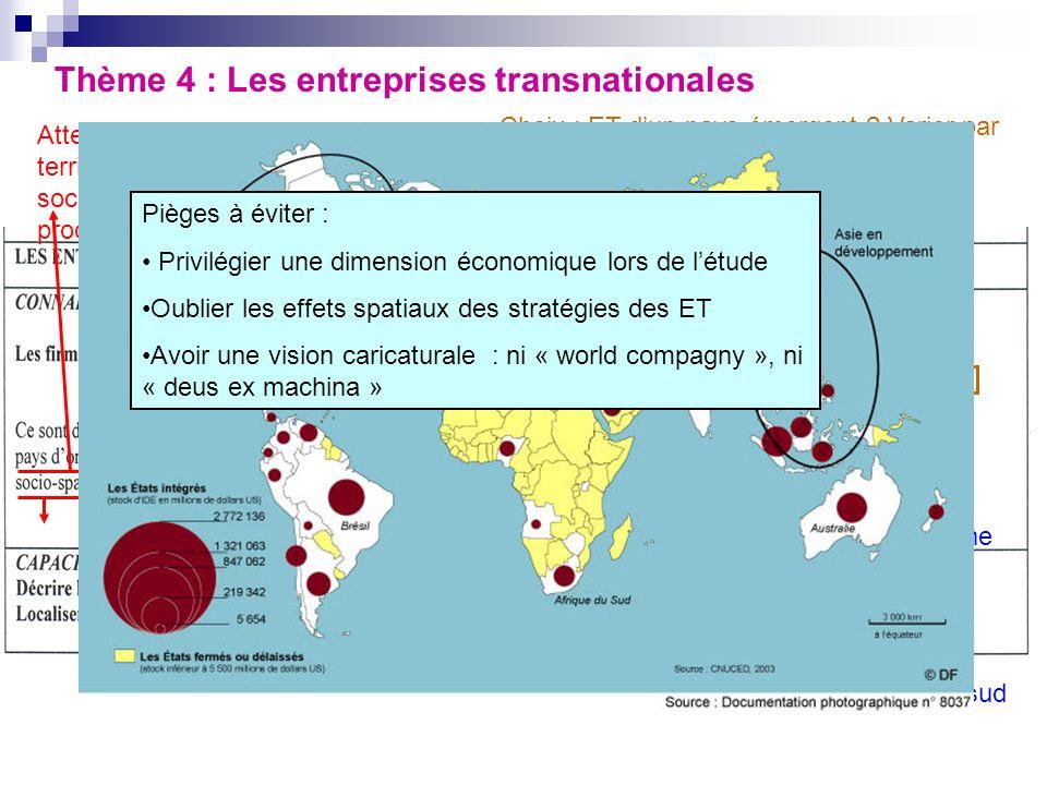 Thème 4 : Les entreprises transnationales