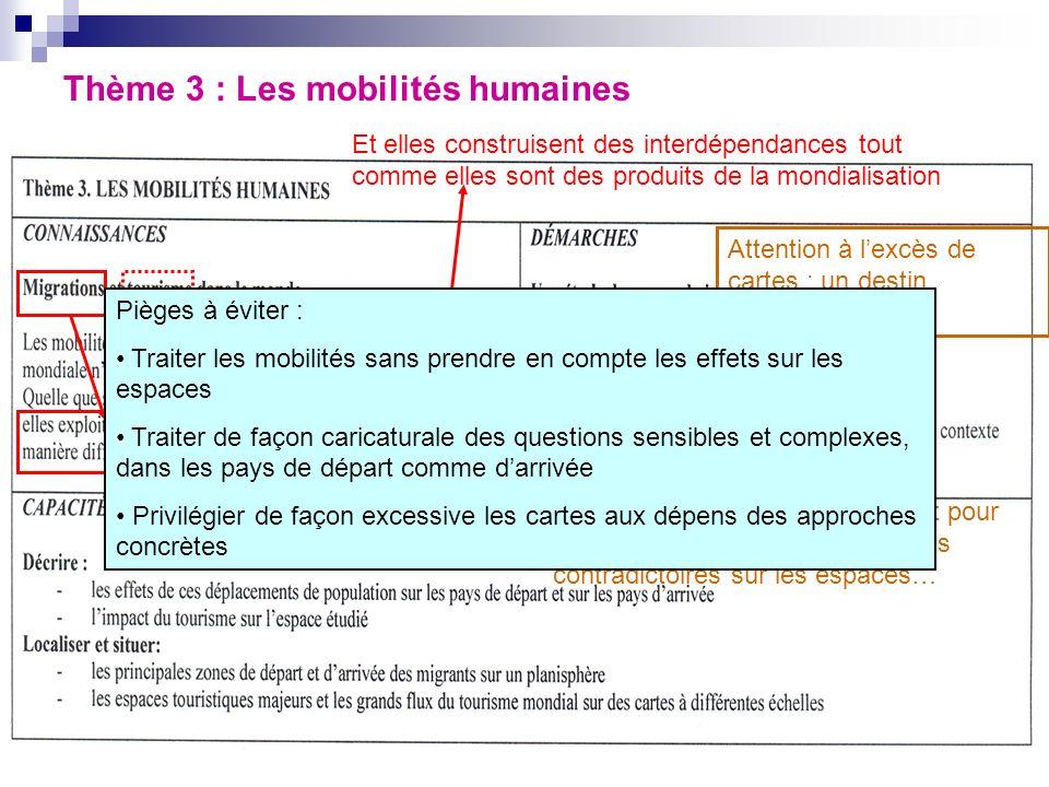Thème 3 : Les mobilités humaines