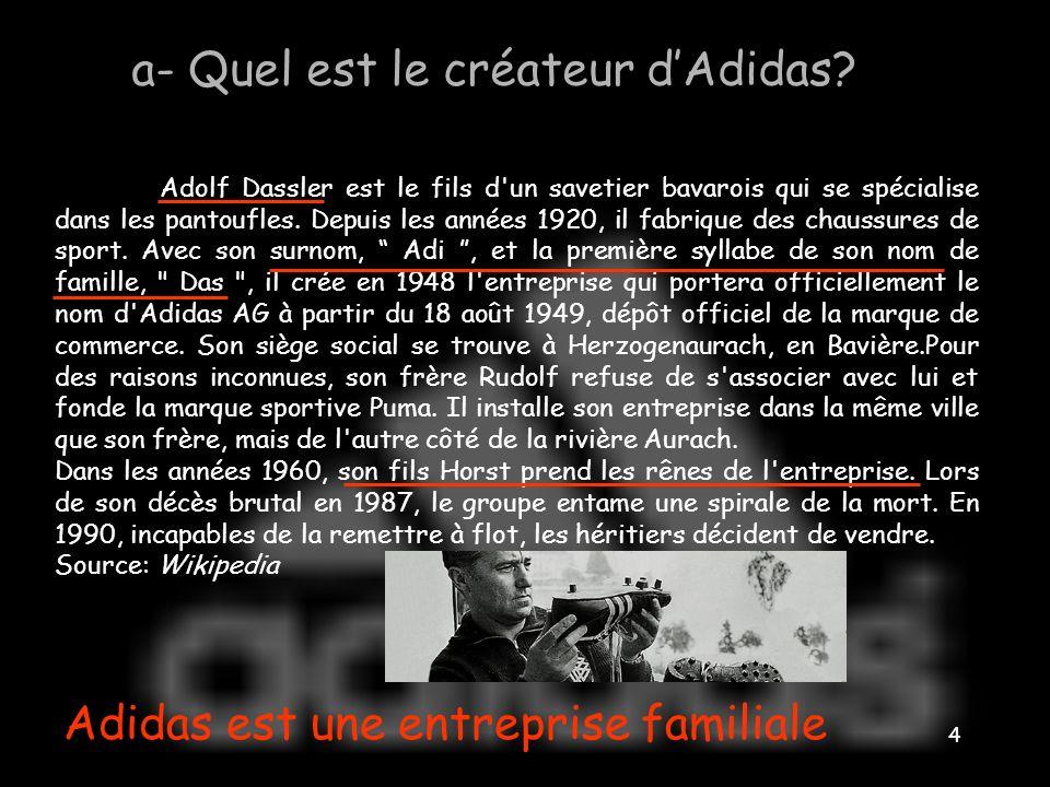 a- Quel est le créateur d'Adidas