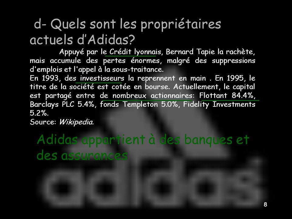 d- Quels sont les propriétaires actuels d'Adidas
