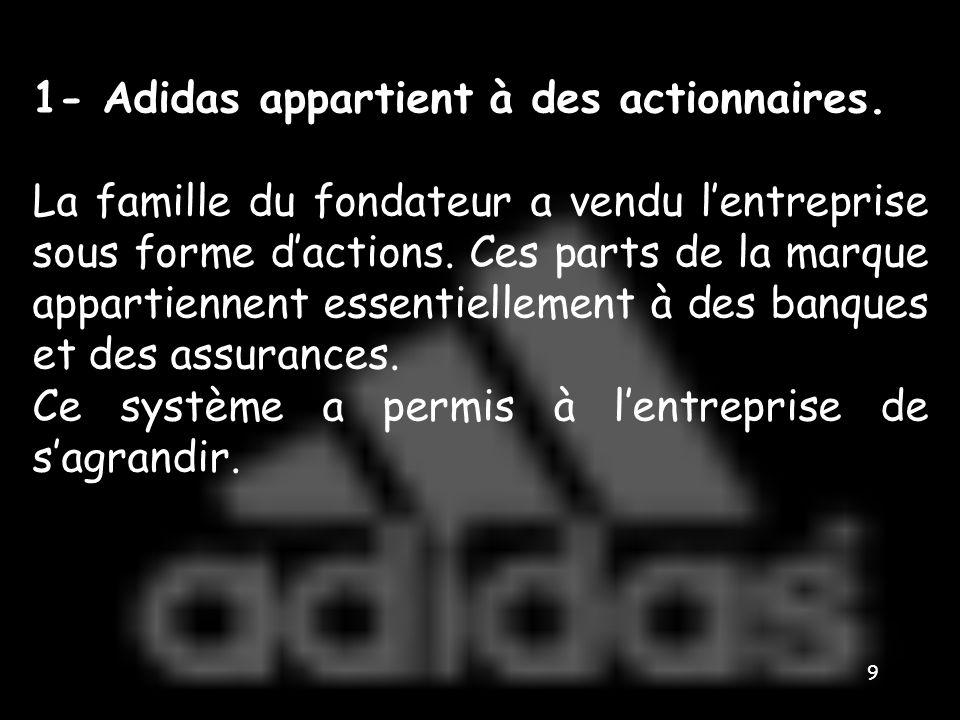 1- Adidas appartient à des actionnaires.