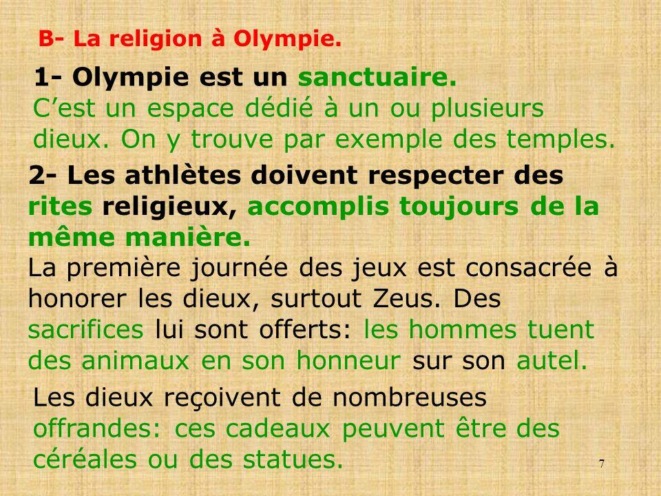1- Olympie est un sanctuaire.