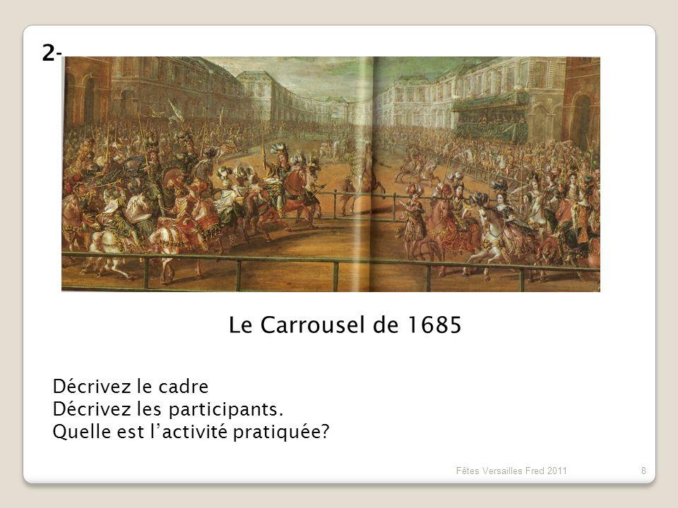 2- Le Carrousel de 1685 Décrivez le cadre Décrivez les participants.