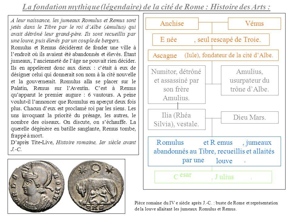La fondation mythique (légendaire) de la cité de Rome : Histoire des Arts :