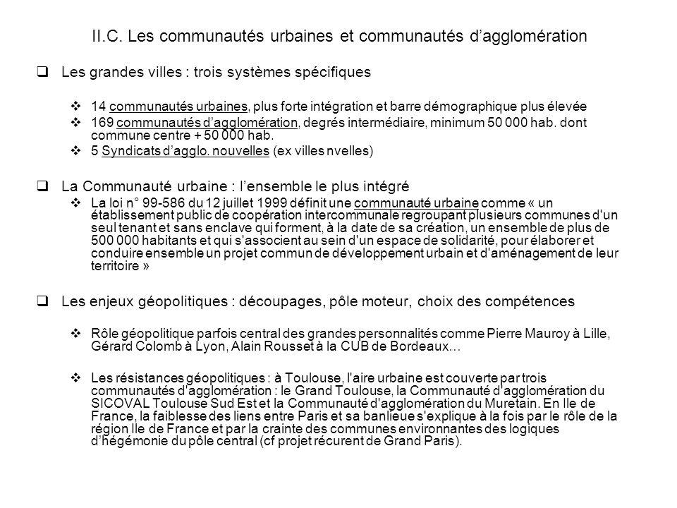 II.C. Les communautés urbaines et communautés d'agglomération